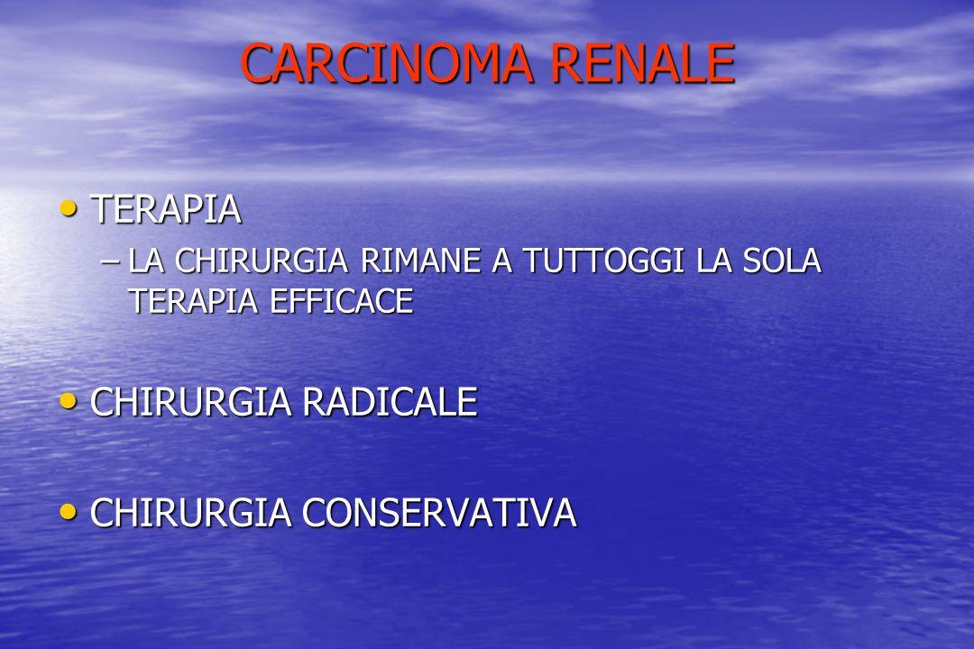 CARCINOMA RENALE TERAPIA CHIRURGIA RADICALE CHIRURGIA CONSERVATIVA