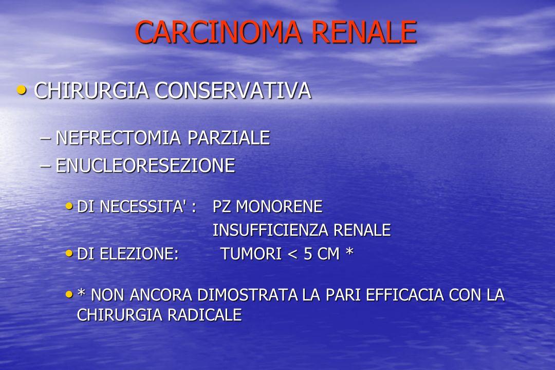 CARCINOMA RENALE CHIRURGIA CONSERVATIVA NEFRECTOMIA PARZIALE