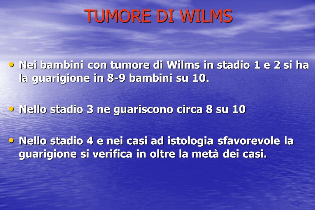TUMORE DI WILMS Nei bambini con tumore di Wilms in stadio 1 e 2 si ha la guarigione in 8-9 bambini su 10.