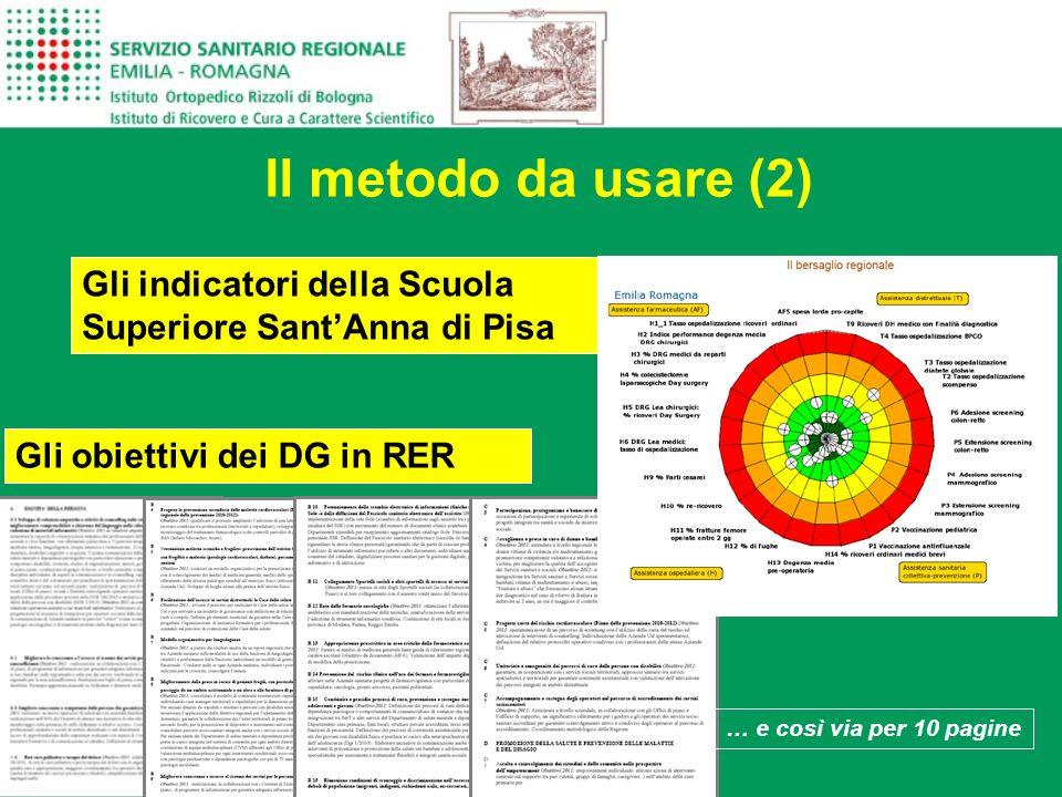Il metodo da usare (2) Gli indicatori della Scuola Superiore Sant'Anna di Pisa. Gli obiettivi dei DG in RER.
