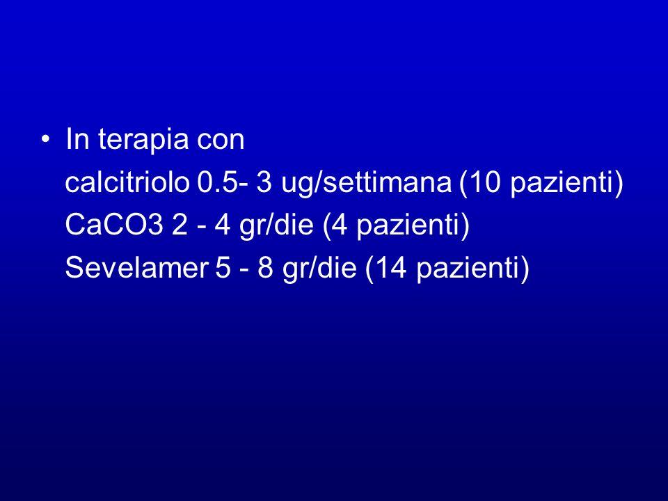 In terapia concalcitriolo 0.5- 3 ug/settimana (10 pazienti) CaCO3 2 - 4 gr/die (4 pazienti) Sevelamer 5 - 8 gr/die (14 pazienti)