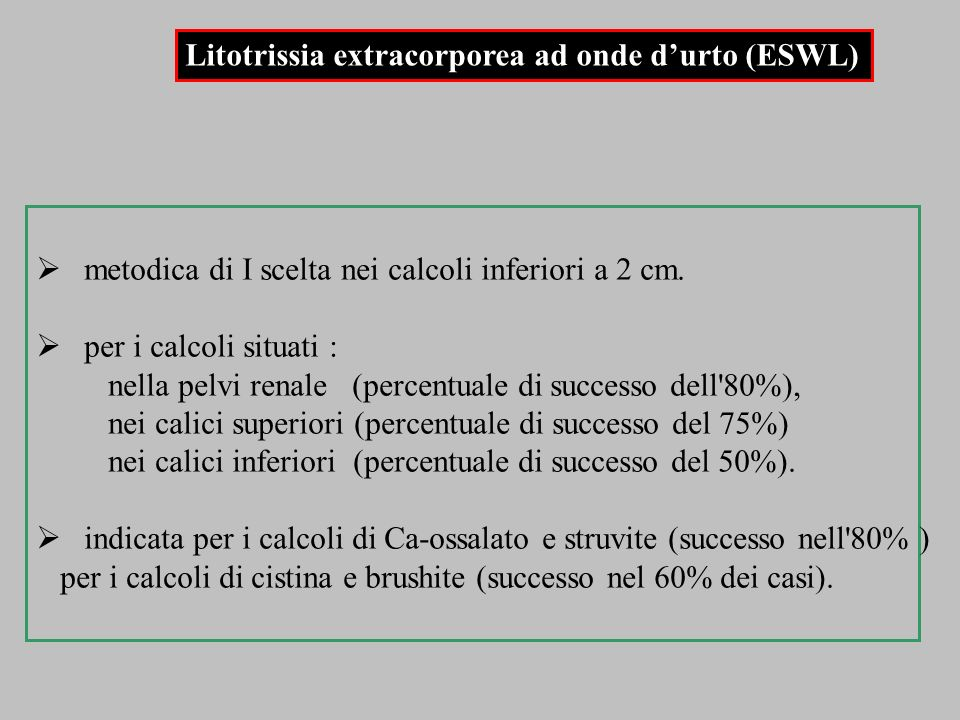 Litotrissia extracorporea ad onde d'urto (ESWL)