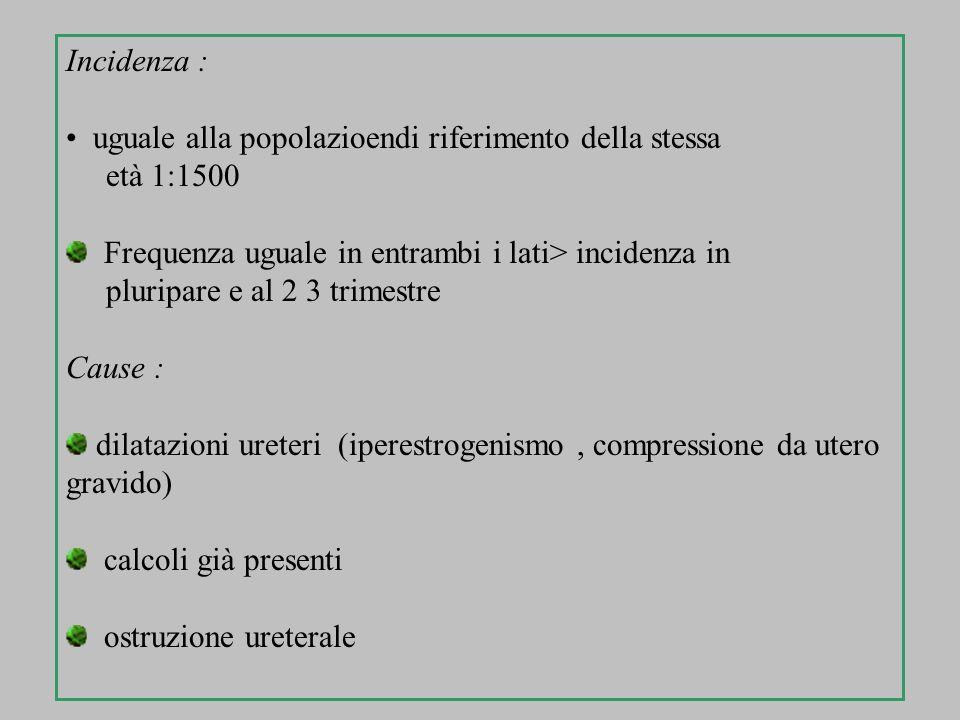 Incidenza : uguale alla popolazioendi riferimento della stessa. età 1:1500. Frequenza uguale in entrambi i lati> incidenza in.