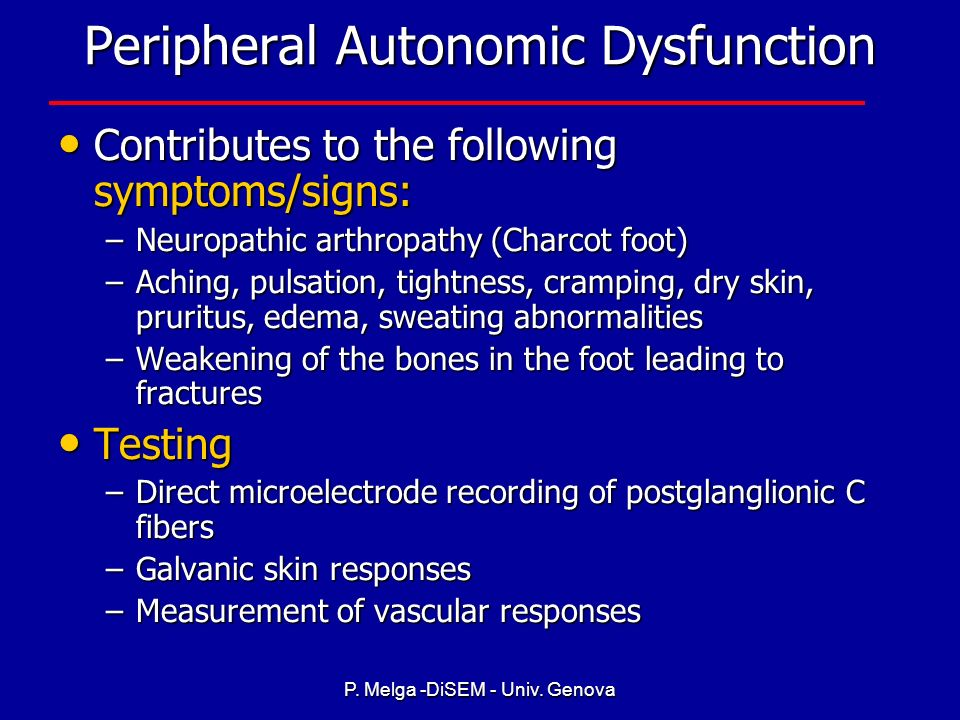 Peripheral Autonomic Dysfunction