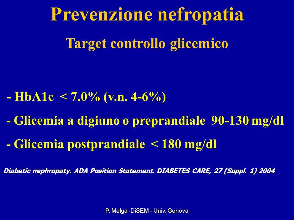 Prevenzione nefropatia Target controllo glicemico