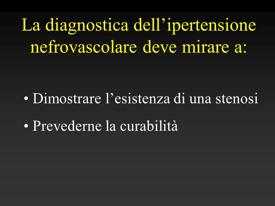 La diagnostica dell'ipertensione nefrovascolare deve mirare a: