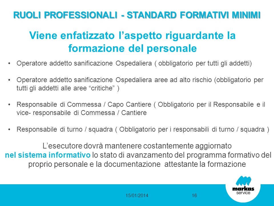 RUOLI PROFESSIONALI - STANDARD FORMATIVI MINIMI