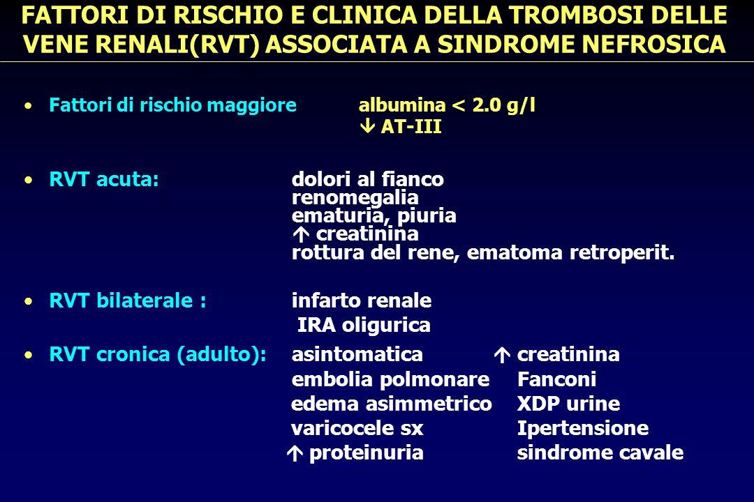 FATTORI DI RISCHIO E CLINICA DELLA TROMBOSI DELLE VENE RENALI(RVT) ASSOCIATA A SINDROME NEFROSICA