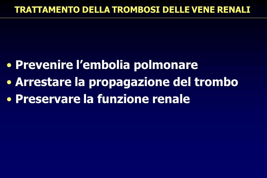 TRATTAMENTO DELLA TROMBOSI DELLE VENE RENALI