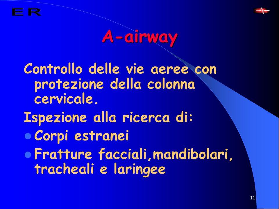 A-airway Controllo delle vie aeree con protezione della colonna cervicale. Ispezione alla ricerca di: