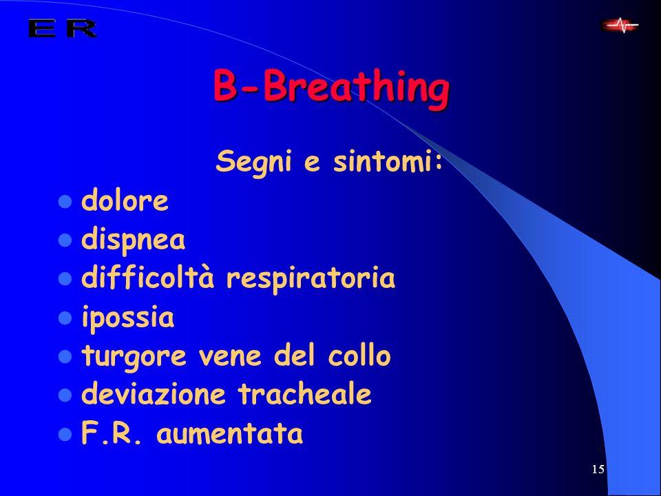 B-Breathing Segni e sintomi: dolore dispnea difficoltà respiratoria
