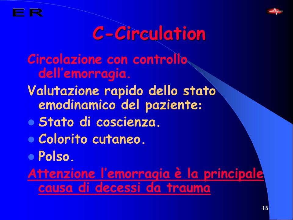 C-Circulation Circolazione con controllo dell'emorragia.