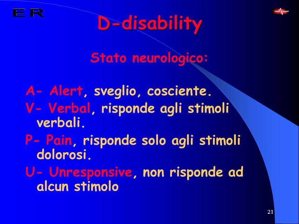 D-disability Stato neurologico: A- Alert, sveglio, cosciente.