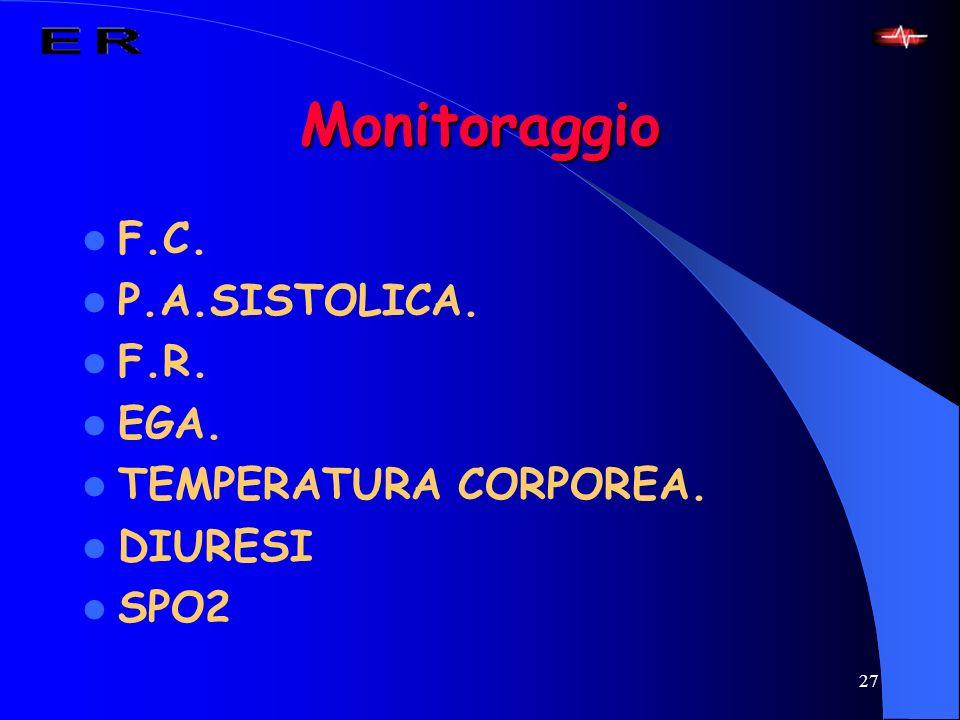 Monitoraggio F.C. P.A.SISTOLICA. F.R. EGA. TEMPERATURA CORPOREA.