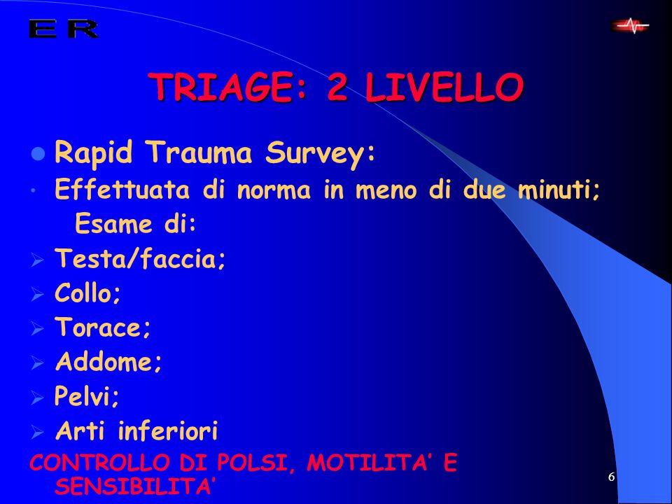 TRIAGE: 2 LIVELLO Rapid Trauma Survey: