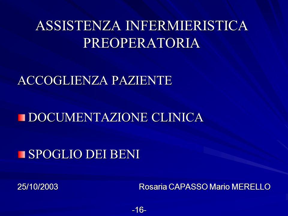 ASSISTENZA INFERMIERISTICA PREOPERATORIA