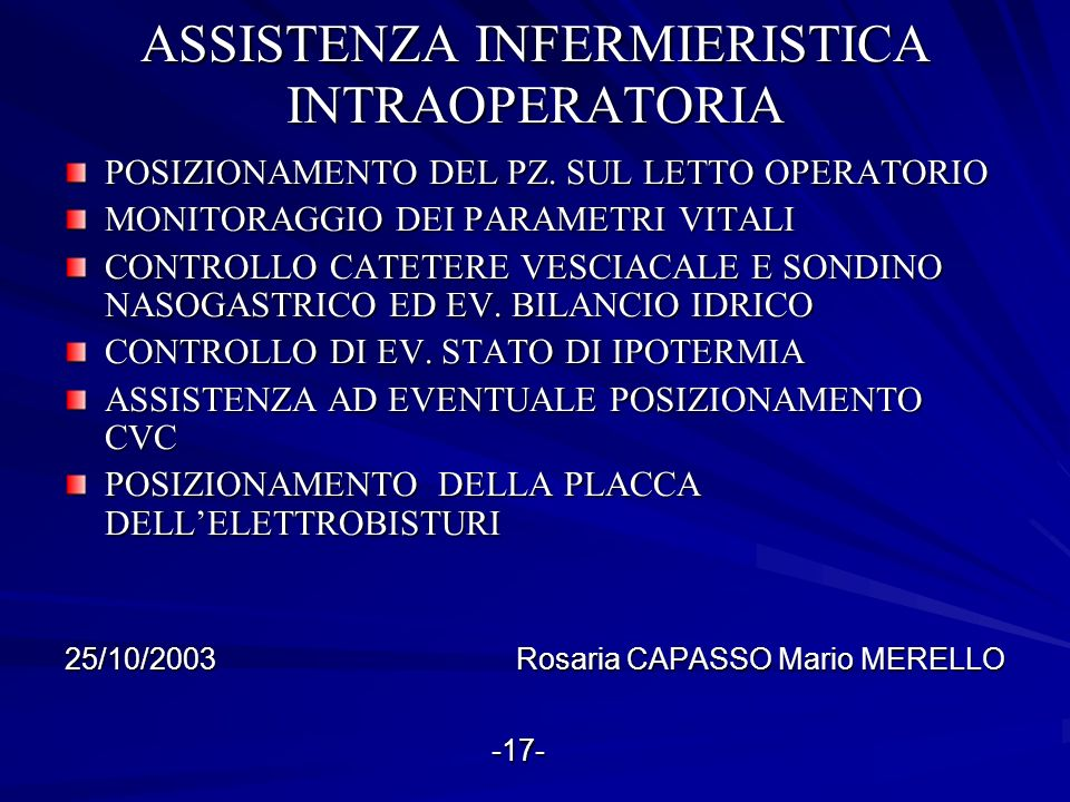 ASSISTENZA INFERMIERISTICA INTRAOPERATORIA