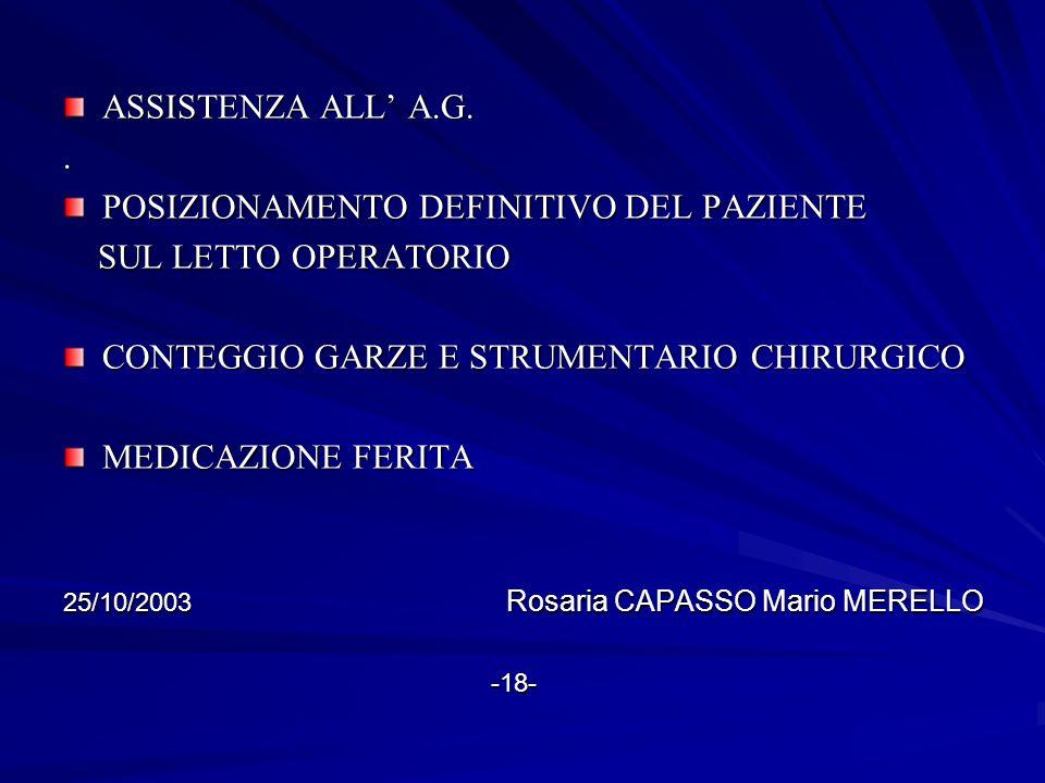 POSIZIONAMENTO DEFINITIVO DEL PAZIENTE SUL LETTO OPERATORIO