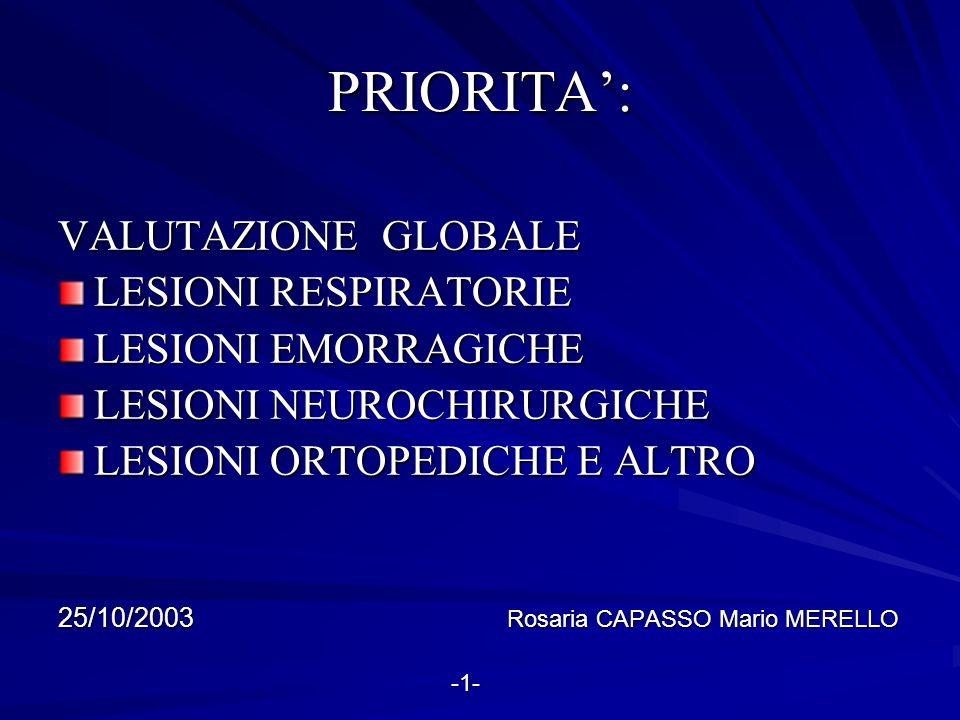PRIORITA': VALUTAZIONE GLOBALE LESIONI RESPIRATORIE