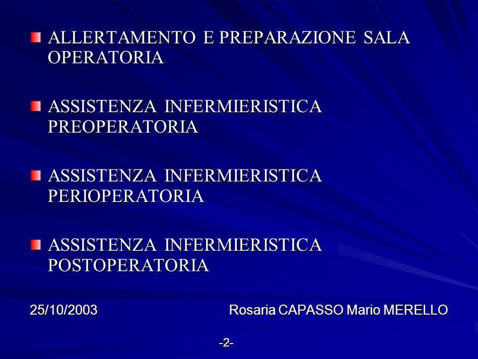 ALLERTAMENTO E PREPARAZIONE SALA OPERATORIA