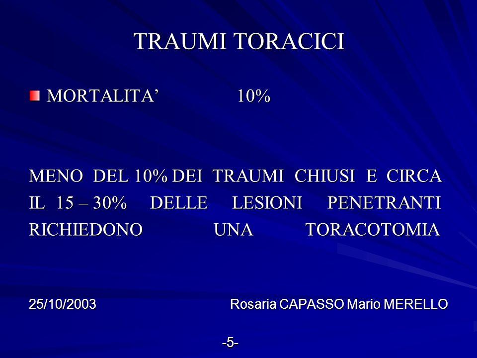 TRAUMI TORACICI MORTALITA' 10% MENO DEL 10% DEI TRAUMI CHIUSI E CIRCA