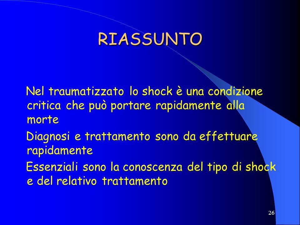 RIASSUNTO Nel traumatizzato lo shock è una condizione critica che può portare rapidamente alla morte.