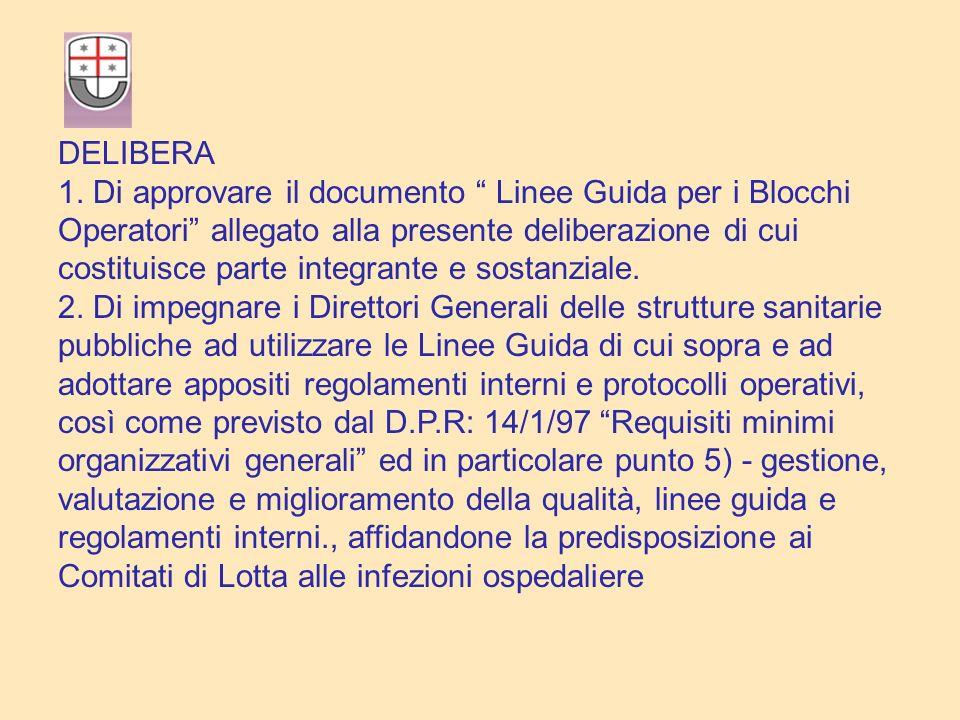 DELIBERA 1. Di approvare il documento Linee Guida per i Blocchi Operatori allegato alla presente deliberazione di cui.
