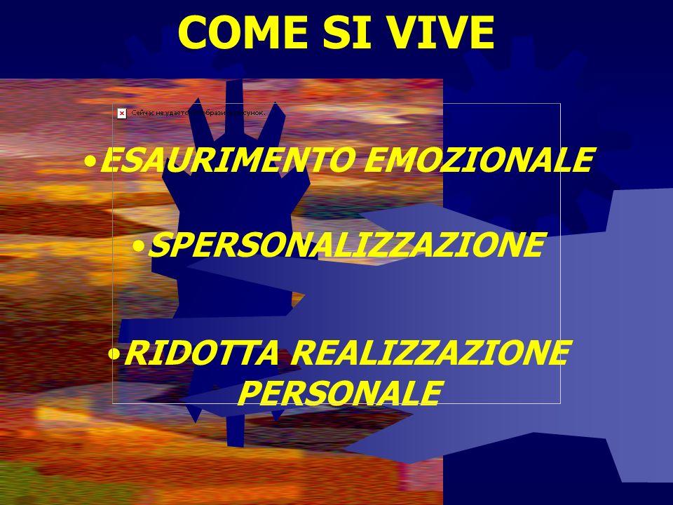 COME SI VIVE ESAURIMENTO EMOZIONALE SPERSONALIZZAZIONE