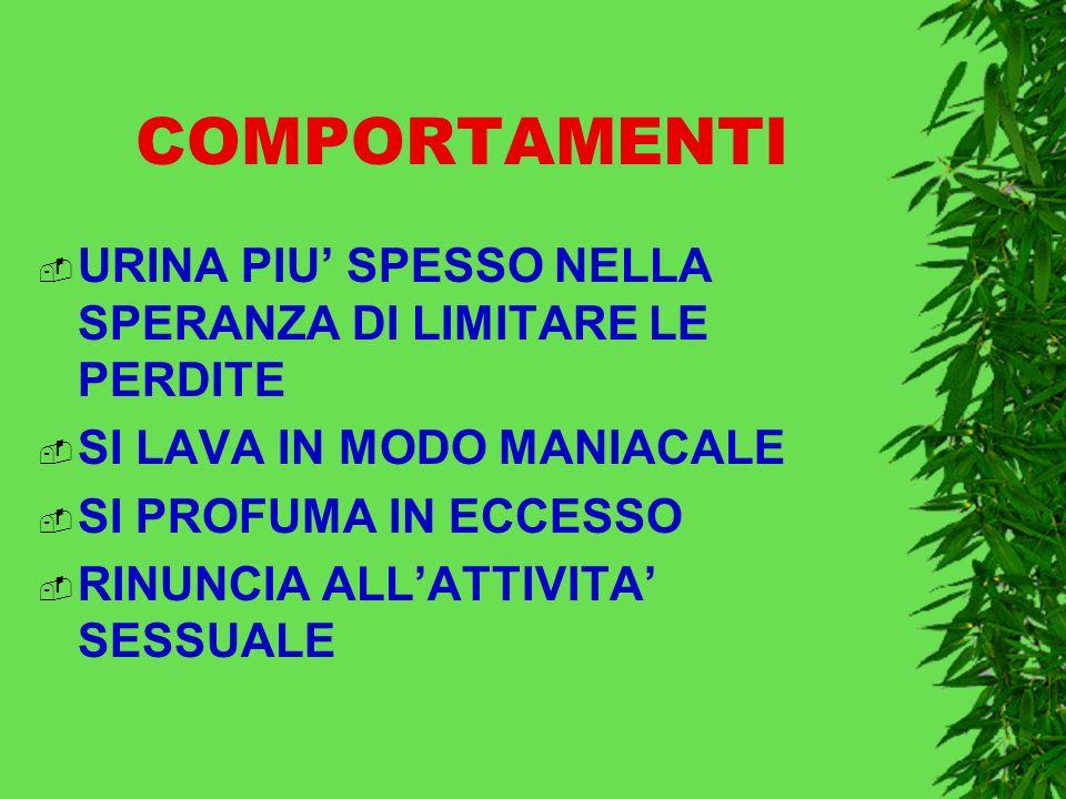 COMPORTAMENTI URINA PIU' SPESSO NELLA SPERANZA DI LIMITARE LE PERDITE