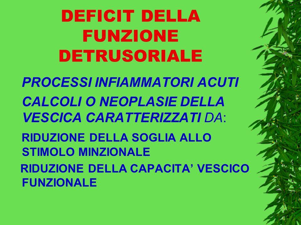 DEFICIT DELLA FUNZIONE DETRUSORIALE