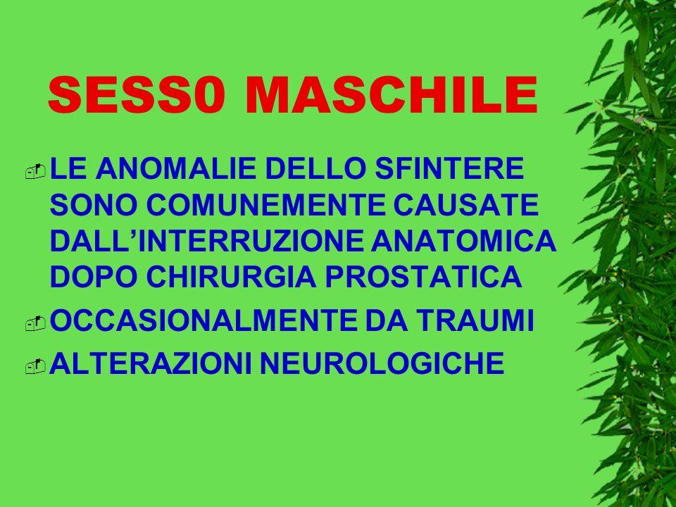 SESS0 MASCHILE LE ANOMALIE DELLO SFINTERE SONO COMUNEMENTE CAUSATE DALL'INTERRUZIONE ANATOMICA DOPO CHIRURGIA PROSTATICA.