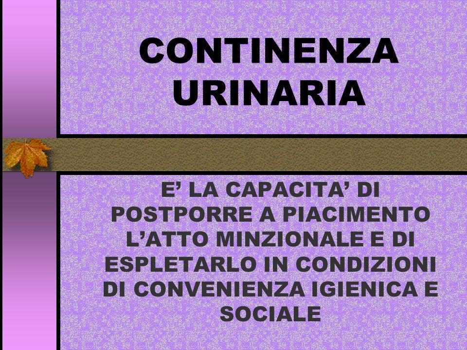 CONTINENZA URINARIA E' LA CAPACITA' DI POSTPORRE A PIACIMENTO L'ATTO MINZIONALE E DI ESPLETARLO IN CONDIZIONI DI CONVENIENZA IGIENICA E SOCIALE.