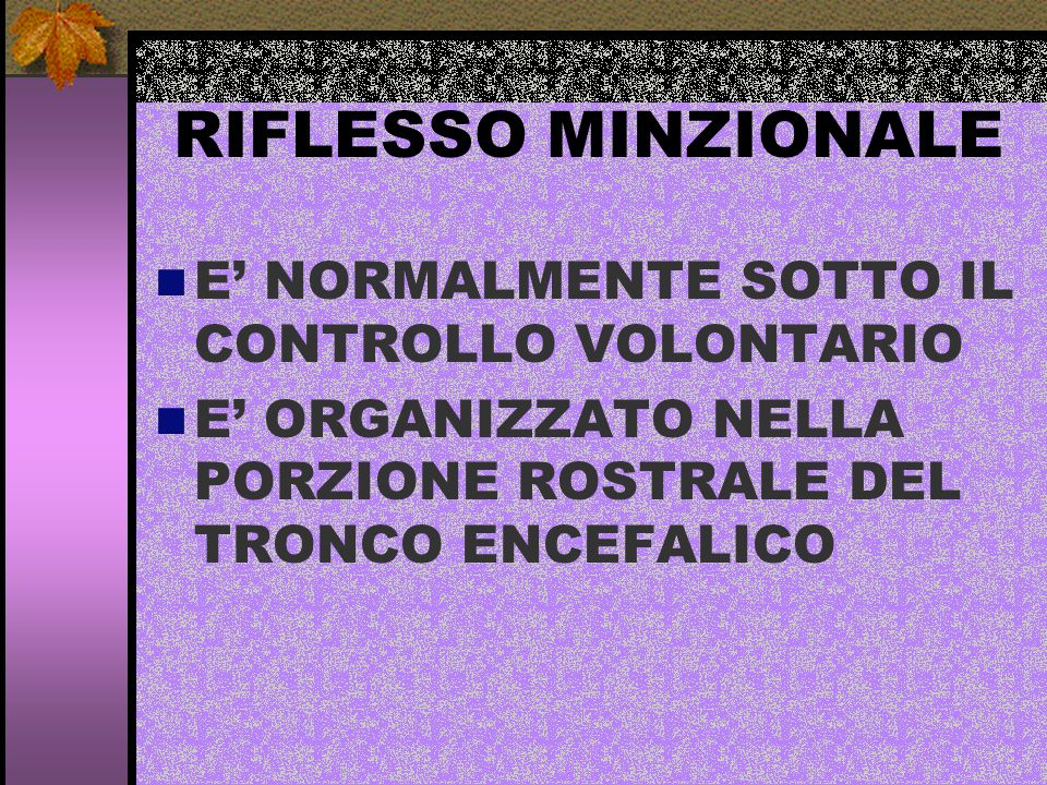 RIFLESSO MINZIONALE E' NORMALMENTE SOTTO IL CONTROLLO VOLONTARIO