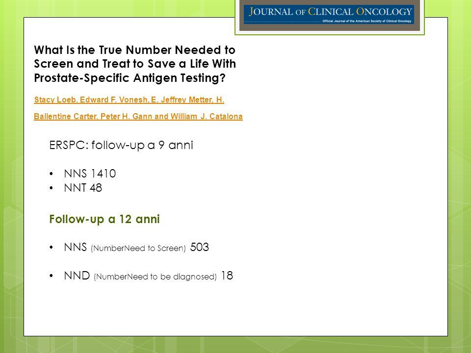 ERSPC: follow-up a 9 anni NNS 1410 NNT 48