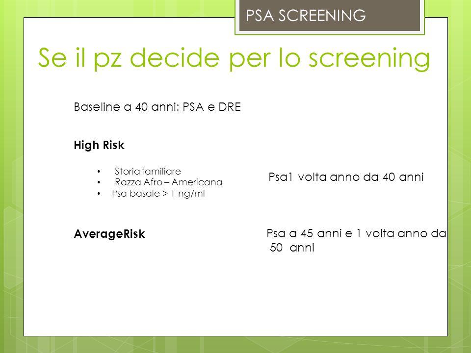 Se il pz decide per lo screening
