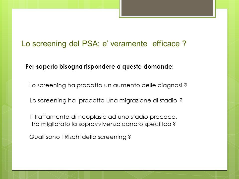 Lo screening del PSA: e' veramente efficace