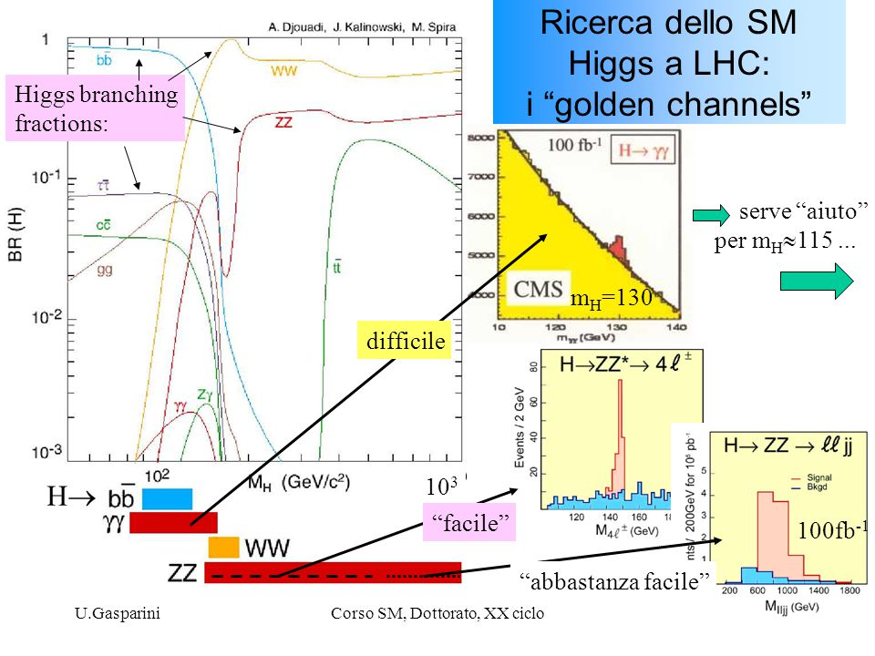 Ricerca dello SM Higgs a LHC: i golden channels