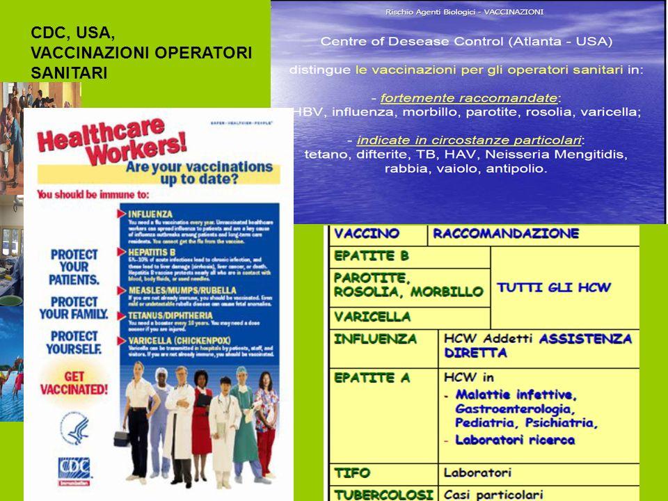 CDC, USA, VACCINAZIONI OPERATORI SANITARI