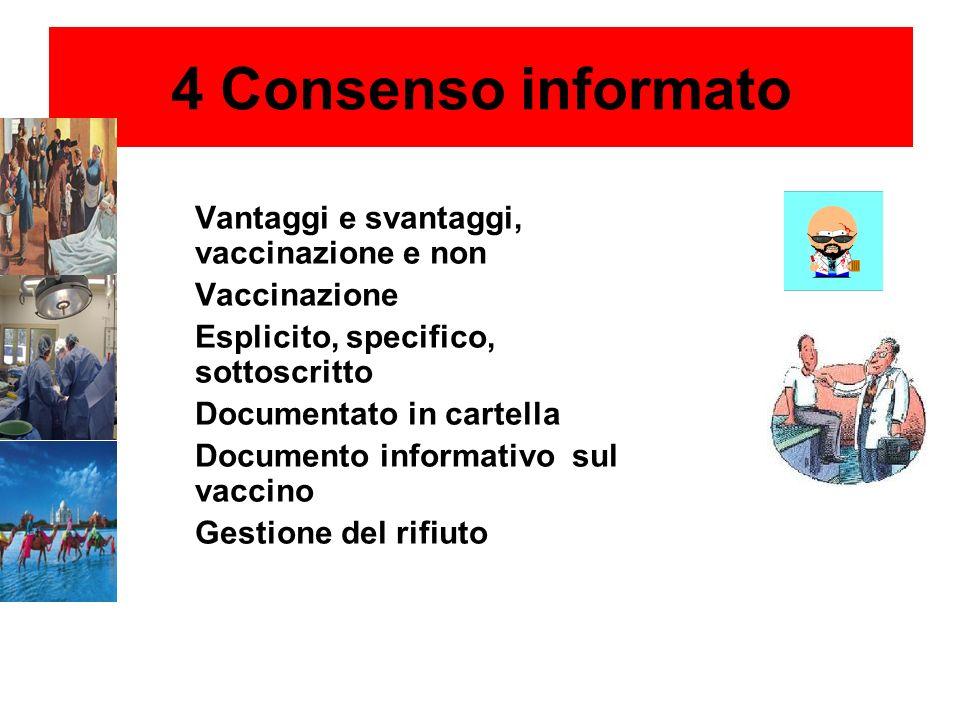 4 Consenso informato Vantaggi e svantaggi, vaccinazione e non