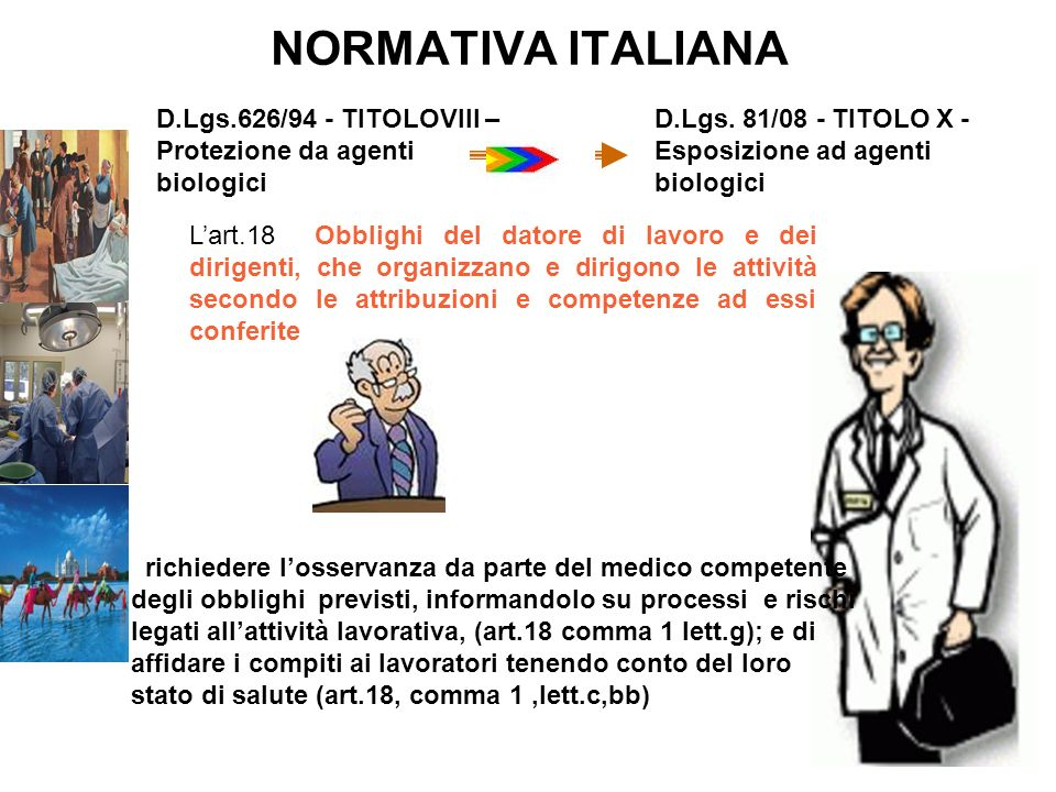NORMATIVA ITALIANA D.Lgs.626/94 - TITOLOVIII – Protezione da agenti biologici. D.Lgs. 81/08 - TITOLO X - Esposizione ad agenti biologici.