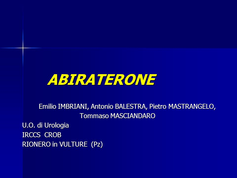 ABIRATERONE Emilio IMBRIANI, Antonio BALESTRA, Pietro MASTRANGELO,
