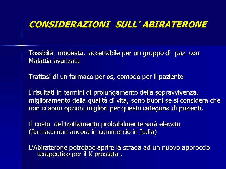 CONSIDERAZIONI SULL' ABIRATERONE