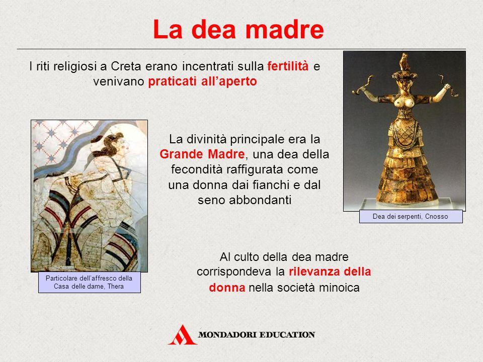 La dea madre Dea dei serpenti, Cnosso. I riti religiosi a Creta erano incentrati sulla fertilità e venivano praticati all'aperto.