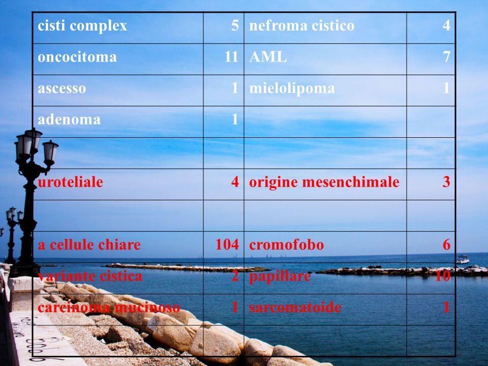 cisti complex 5. nefroma cistico. 4. oncocitoma. 11. AML. 7. ascesso. 1. mielolipoma. adenoma.