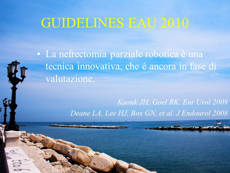 GUIDELINES EAU 2010 La nefrectomia parziale robotica è una tecnica innovativa, che è ancora in fase di valutazione.
