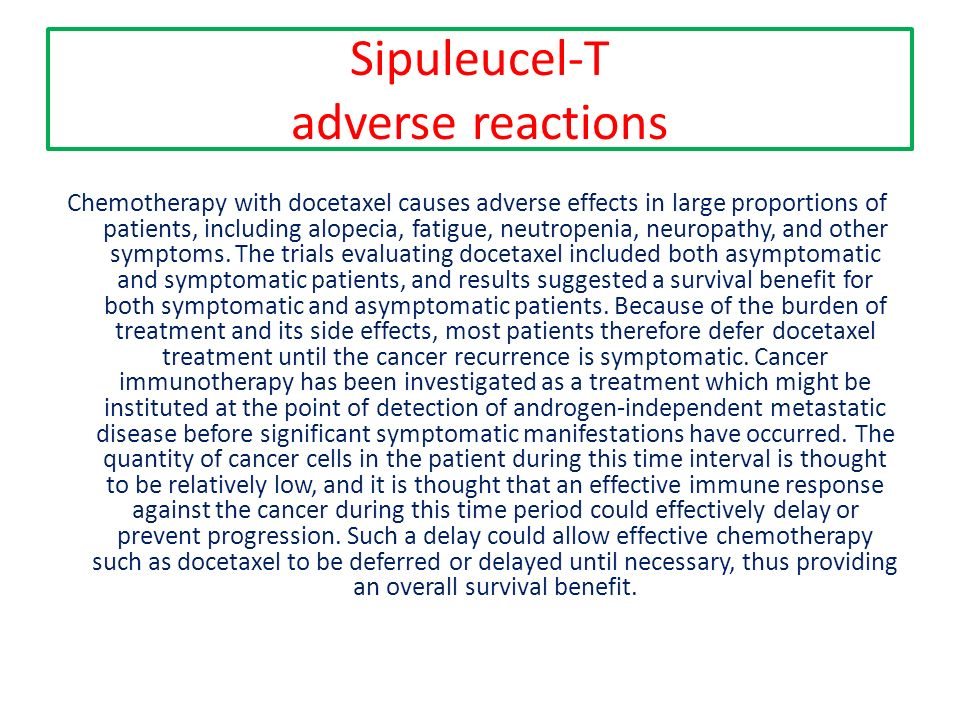 Sipuleucel-T adverse reactions