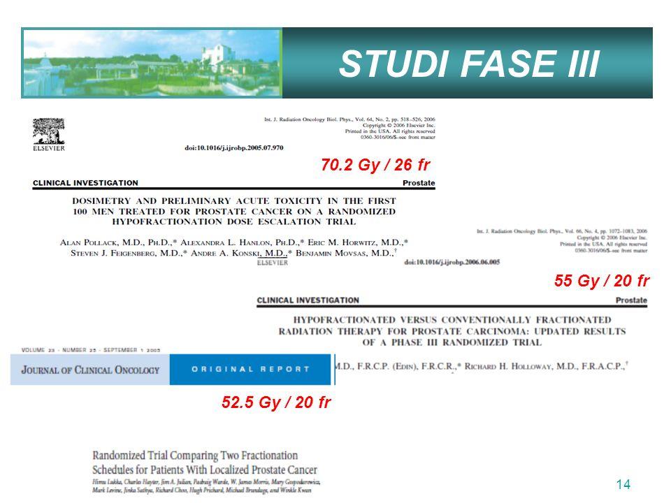 STUDI FASE III 70.2 Gy / 26 fr 55 Gy / 20 fr 52.5 Gy / 20 fr
