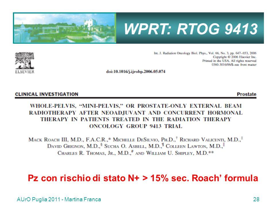 WPRT: RTOG 9413 Pz con rischio di stato N+ > 15% sec.