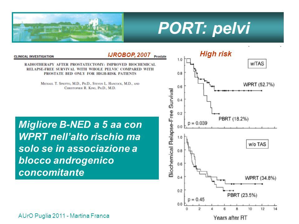 PORT: pelvi High risk. IJROBOP, 2007. Migliore B-NED a 5 aa con WPRT nell'alto rischio ma solo se in associazione a blocco androgenico concomitante.
