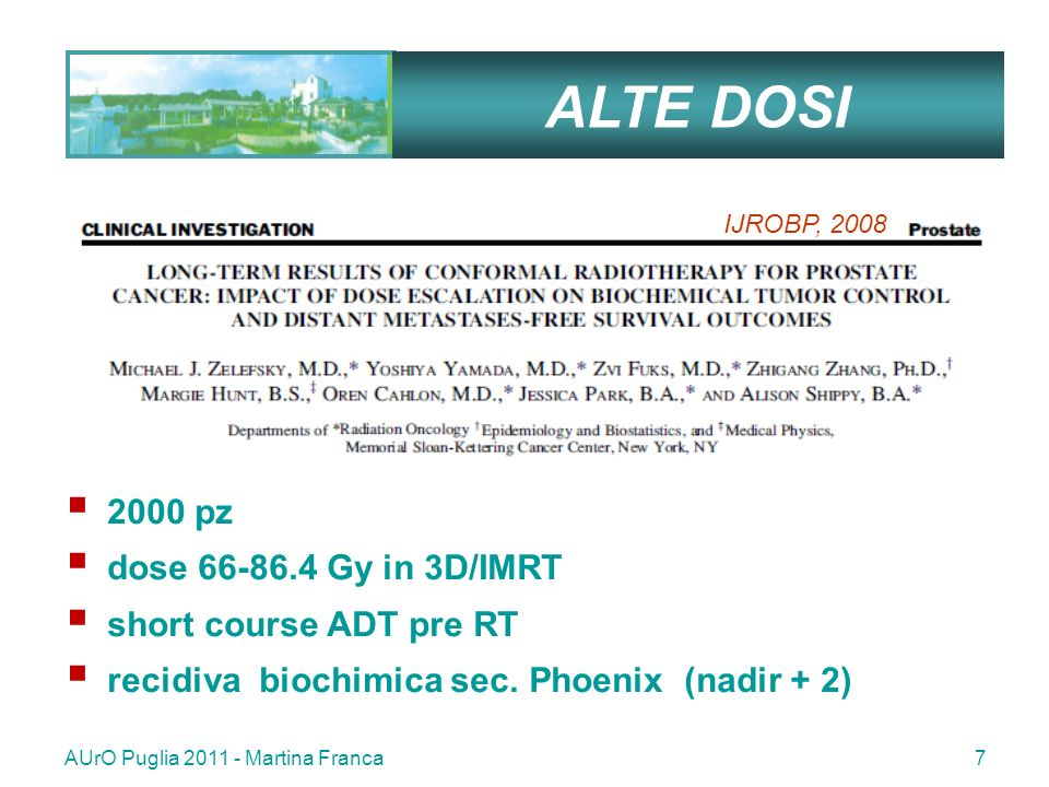 ALTE DOSI 2000 pz dose 66-86.4 Gy in 3D/IMRT short course ADT pre RT
